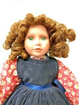 Porcelain Doll Curly Hair in Blue Apron w/ Red Floral Top White Flower A... - $48.51