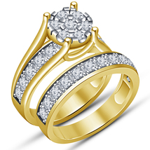 White Diamond VVS1/D Bridal Set Engagement Ring 10k Yellow Gold Over 925... - $76.90