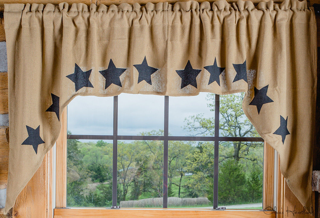 Olivia's Heartland ~ Natural Tan Deluxe BURLAP Stencil Star window SWAGS curtain - $31.95