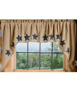 Olivia's Heartland ~ Natural Tan Deluxe BURLAP Stencil Star window SWAGS... - $31.95