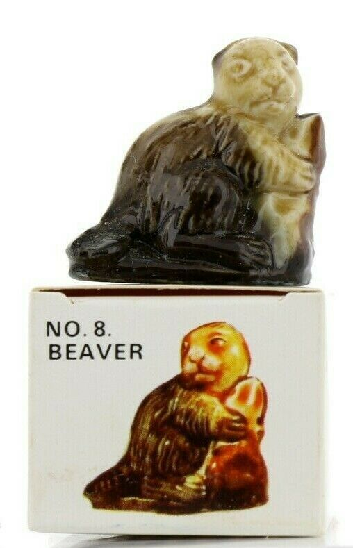 No. 8 Beaver Miniature Porcelain Animal Figurine - Picture Box Whimsies by Wade