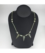 "12.7g,2mm-29mm, Small Green Nephrite Jade Arrowhead Beaded Necklace,19"",... - $4.75"