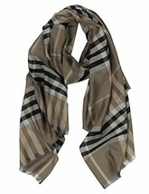 "Long Check/Plaid Scarf Lightweight 74.8""27.5"" khaki 924 - $12.13"