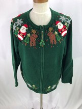Heirloom Collectibles Cardigan Sweater Santa Christmas Reindeer Green Wo... - $29.00