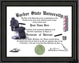Barber Lover's Diploma / Degree Custom made & Designed for YOU Gag Gift ... - $9.74