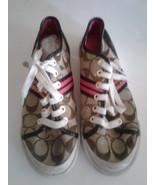 COACH Folly Logo Signature Canvas Casual Shoes Sneaker Khaki Brown Women... - $25.00