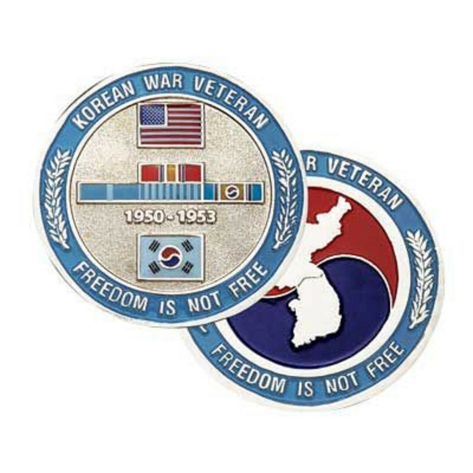 "KOREAN WAR VETERAN KOREA  MEDAL RIBBON 1.75"" CHALLENGE COIN"