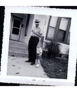Smoking Dad Watching Little Boy In Front Yard Photo Snapshot 1963 - $4.99