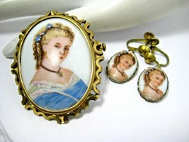 Elegant Vintage Brooch and Screwback Earring Set by Limoges Porcelain - $45.00