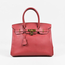"Hermes ""Bougainvillea"" Red ""Courchevel"" Leather ""Birkin 30"" Bag - $13,010.00"