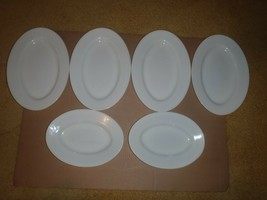 SET OF 6 PYREX TABLEWARE BY CORNING MILK GLASS DINNER PLATES OVAL - $46.74