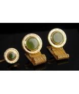 Vintage Green Cufflinks / Jade gold Mesh wrap/  high quality estate jewe... - $195.00