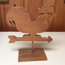 Wood Folk Art Chicken Hen Rooster Weather Vane Collapsible with Stand - $15.00