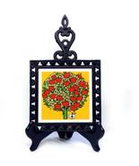 Vintage Holt Howard Ceramic Tile Trivet Cast Iron Apple Tree 1950s Signed - £18.11 GBP