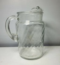 Vintage Anchor Hocking Glass Pitcher Ice Lip Clear Optic Twisted Swirl 9... - $29.69