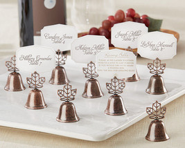 192 Fall Autumn Bronze Leaf Kissing Bell Place Card Photo Holder Wedding... - €189,90 EUR