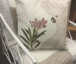 Pottery Barn Cockatoo Pillow Cover Ivory 20 sq Tropical Bird Parrot New - $25.85