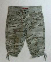 BeBop Girls Capri Pants Size 10 Green Camouflage Cargo Drawstrings Casual School - $19.16