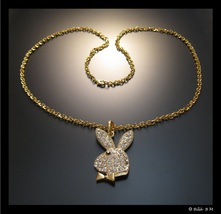 "PLAYBOY BUNNY Pendant with Clear Rhinestone Crystal in GoldTone and 30"" ... - $75.00"