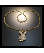 """PLAYBOY BUNNY Pendant with Clear Rhinestone Crystal in GoldTone and 30"""" NECKLACE - €69,32 EUR"""