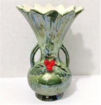 Vintage Norcrest Vase Green Luster Glaze Christmas Holly Urn Shaped Vase - $14.99