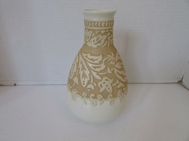 "LENOX EMBOSSED CHINA VASE 9.5"" RAISED PATTERNS TWO TONE COLOR TAUPE &  I... - $14.80"