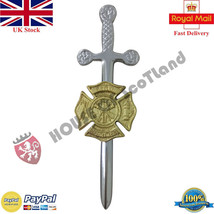 An item in the Fashion category: Fire Rescue Department Kilt Pin Chrome & Gold/Celtic Sword Kilt Pin Fire Rescue