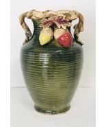 Green Two Handled Urn Style Vase Akorn Decor Fall / Autumn Home Decorati... - $37.40