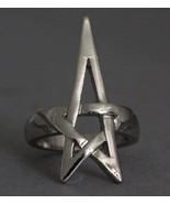 Pentagram Star Ring Pentacle Open Silver Wicca Goth Jewelry Size 5 - €11,37 EUR
