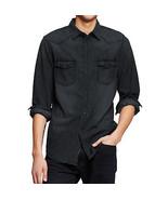 Men's Mossimo Supply Co. Long Sleeve Washed Denim Button Collar Shirt Ba... - $14.99