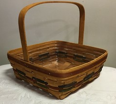 1990 Longaberger Single Handle Pie Basket with Colored Weaves & Protector - $48.02