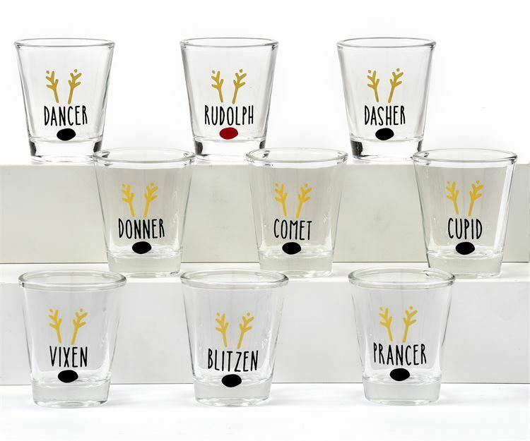 Christmas Shot Glass Set of 9 Reindeer Names Gold Foil w Reindeer Nose Glass