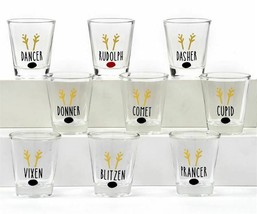 Christmas Shot Glass Set of 9 Reindeer Names Gold Foil w Reindeer Nose Glass