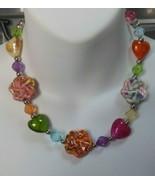 Vintage Multi-color Glazed Ceramic & foiled Glass Heart Necklace - £18.78 GBP