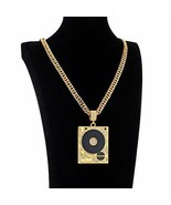Men Classic Pave Cubic Zirconia Gold plated DJ Phonograph Tag Pendant Ne... - $37.02