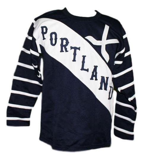 Portland rosebuds retro hockey jersey 1915 navy blue   1