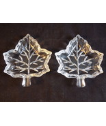 "Small GLASS MAPLE LEAF CANDY DISH set of 2 crystal clear glass trays 4"" ... - $9.89"