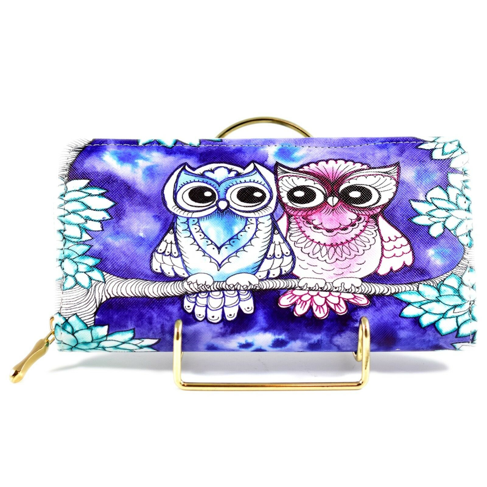 Bijorca Blue & Pink Night Owl Couple Clutch Wallet New w Tags