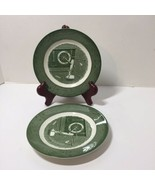 """2 Saucers Colonial Homestead Green Royal 6.25"""" - $8.79"""