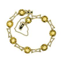20.00 Carat Round Cut Citrine Vintage Bracelet 9K Yellow Gold 375 Stamp Made In - $989.01