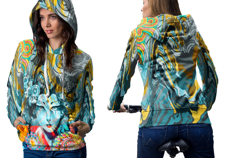 Psychedelic face geisha trippy tongue dmt hoodie women