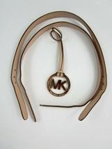 Michael Kors MK LOGO Charm Key Fob & 2 Leather Straps Only NO PURSE Beige   - $19.64