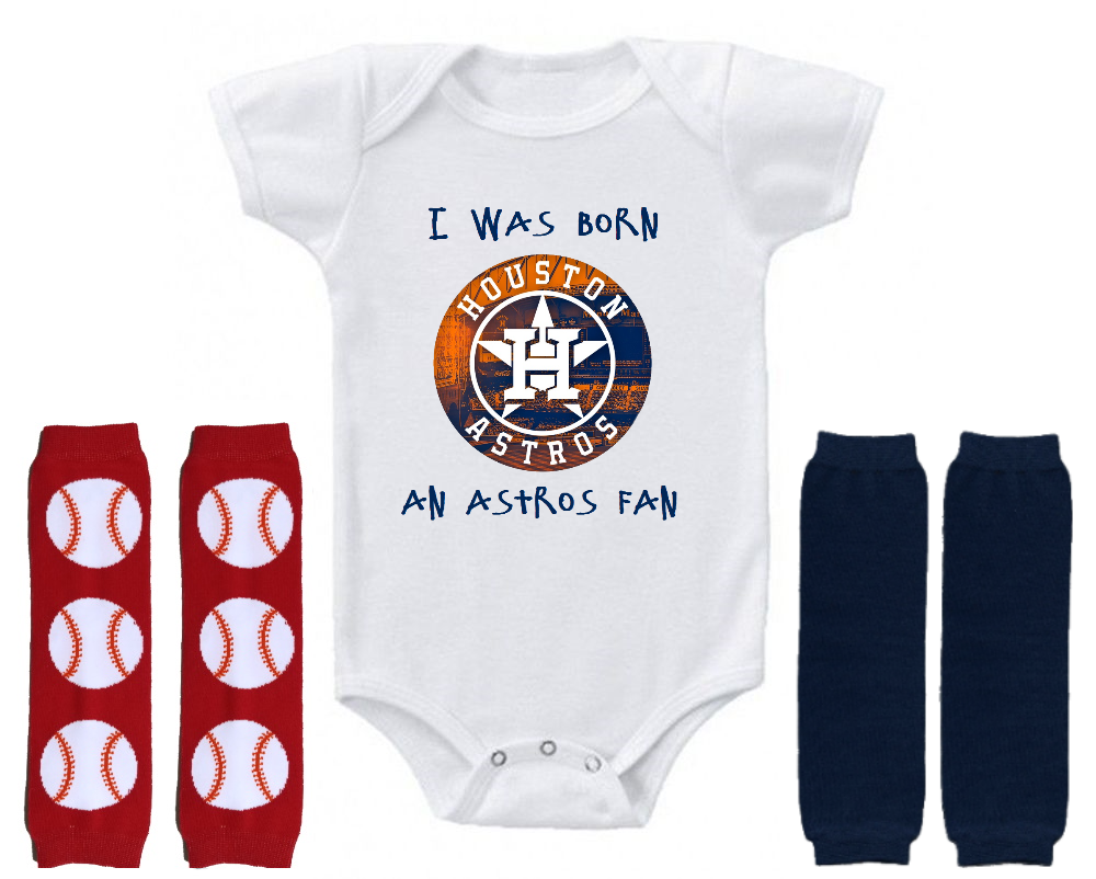 Primary image for Houston Astros Onesie Shirt Bodysuit Leggings Set Shower Gift Born A Fan