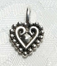 HEART WITH BEADED EDGE FINE PEWTER PENDANT CHARM image 2