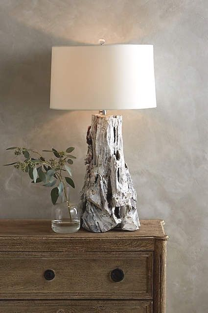 Primary image for Anthropologie Modern Organic Table Lamp Chunky White Driftwood Wood Sculpture