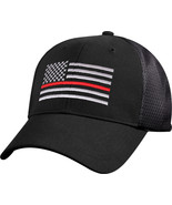 Black Thin Red Line US Flag Support Fire Fighters Mesh Back Baseball Cap... - $10.99