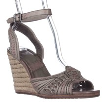 FRYE Patricia Concho Woven Wedge Espadrille Sandals, Grey, 9 US - $107.51