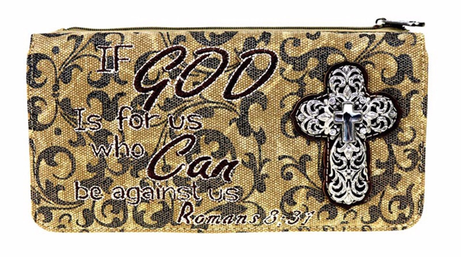 Embroidered Bible Verse Cross Wallet Romans 8:31 Montana West Brown