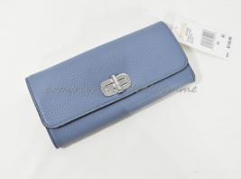NWT! MICHAEL Michael Kors Sullivan Large Carryall Leather Wallet in Denim Blue - $139.00