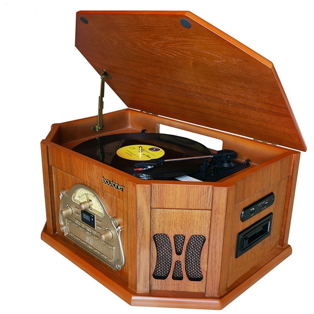 8-in-1 Boytone BT-25WB with Bluetooth Connection Natural wood Classic Turntable